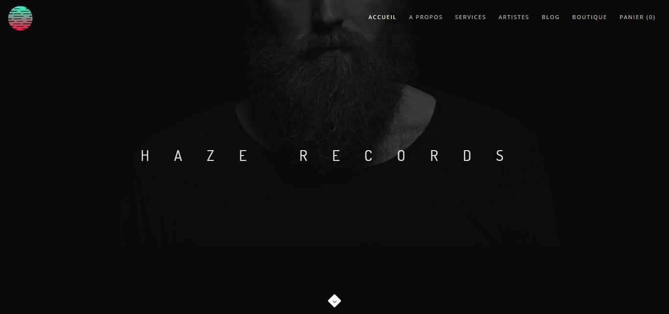 Page d'accueil Site web